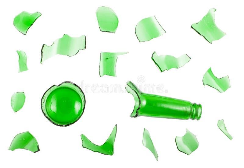 Vista superior de garrafa verde quebrada fotos de stock royalty free