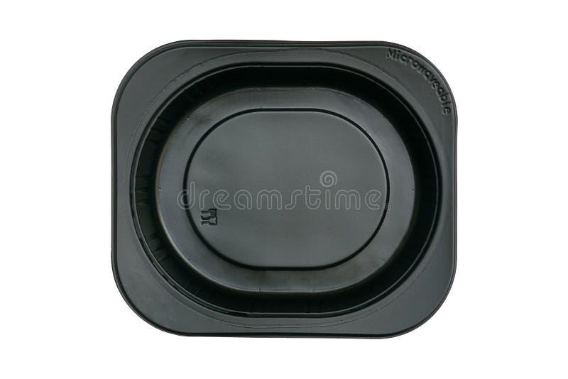 Vista superior de la bandeja plástica negra con la muestra de la categoría alimenticia aislada en la trayectoria que acorta inclu fotografía de archivo libre de regalías