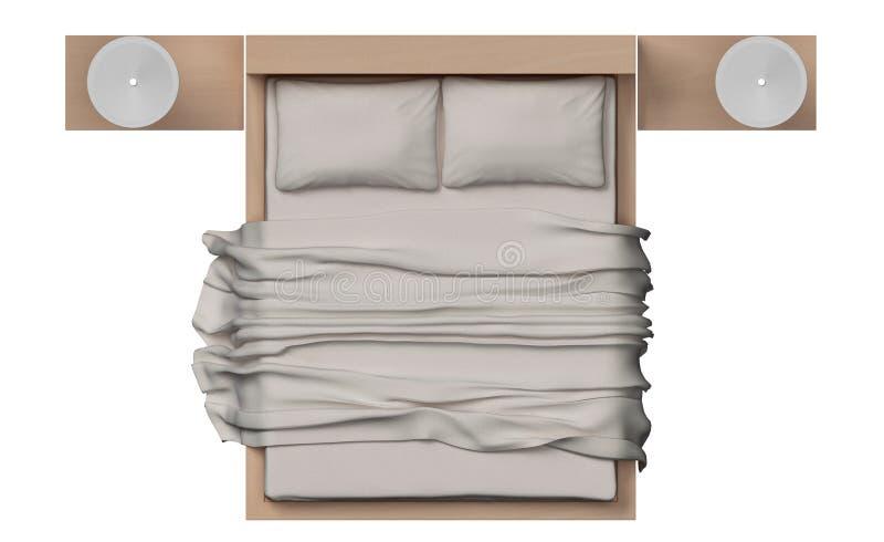 Vista superior de la cama con el marco de madera en el fondo blanco imagen de archivo