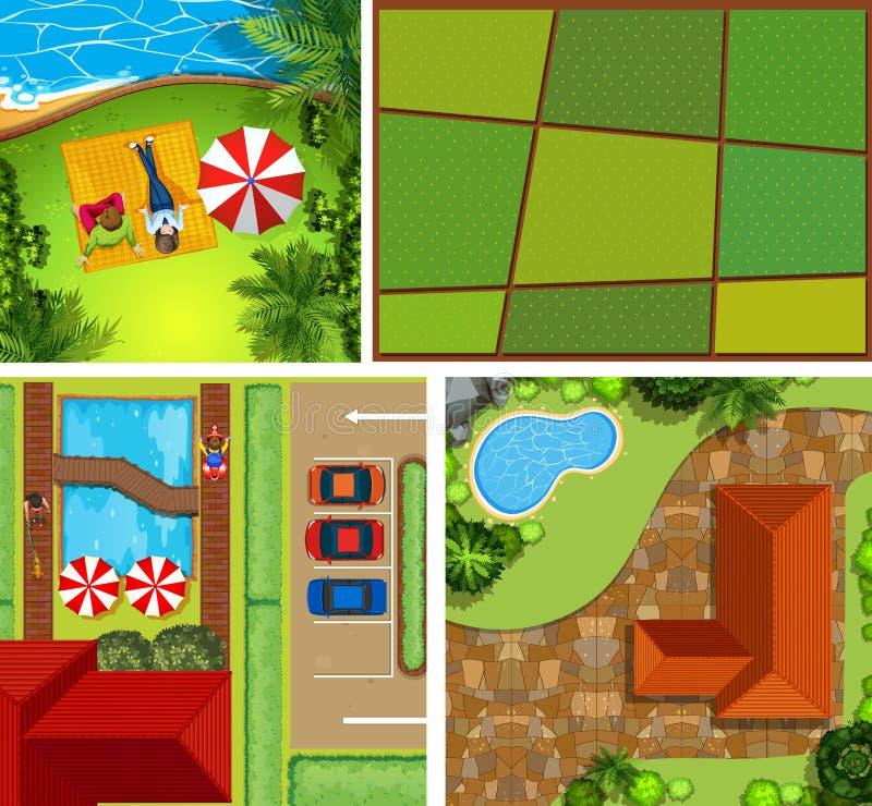 Vista superior de la casa y del parque ilustración del vector