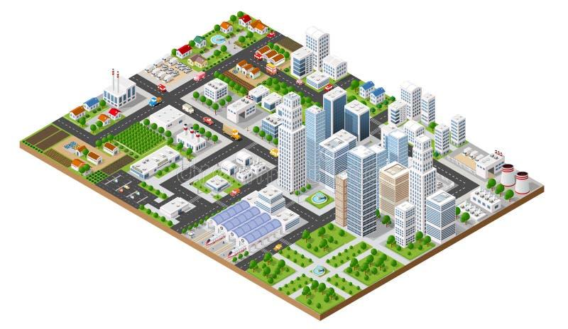 Vista superior de la ciudad stock de ilustración