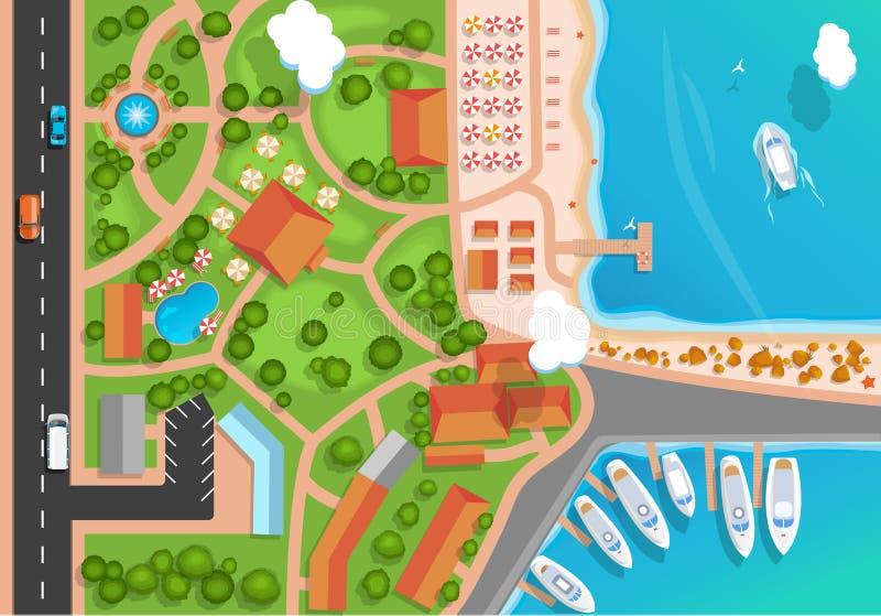 Vista superior de la ciudad de vacaciones, del parque, del camino, de los coches, del puerto deportivo del mar y de los yates ama