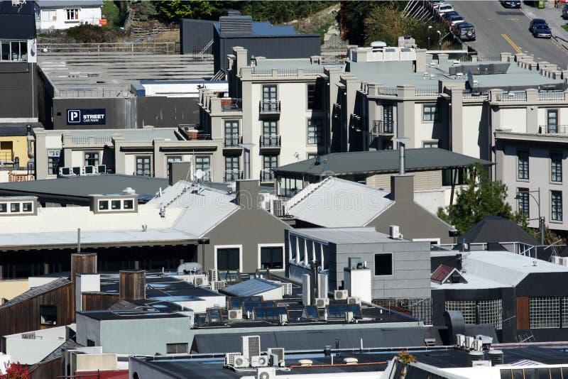 Vista superior de la ciudad, Queenstown imagen de archivo