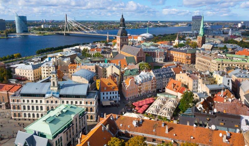 Vista superior de la ciudad vieja de Riga foto de archivo libre de regalías