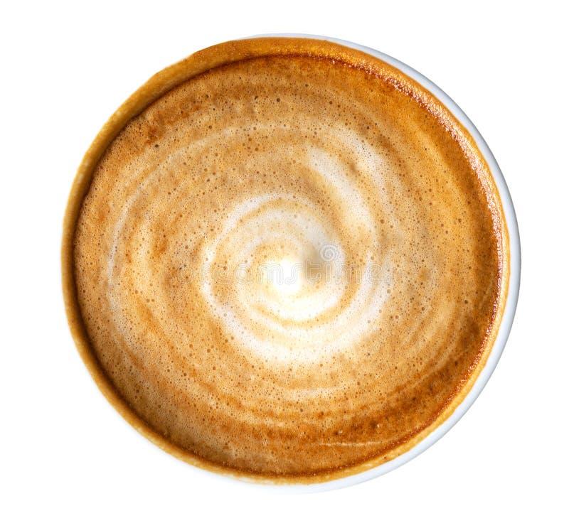 Vista superior de la espuma caliente del espiral del capuchino del latte del café aislada en el fondo blanco, trayectoria imágenes de archivo libres de regalías