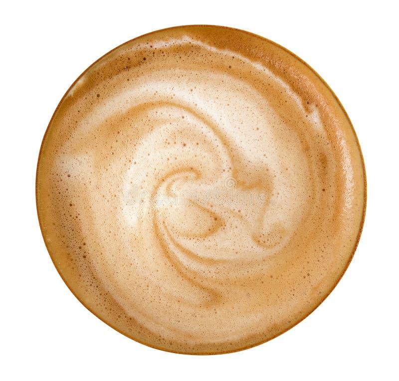 Vista superior de la espuma caliente del espiral del capuchino del latte del café aislada en el fondo blanco, trayectoria fotografía de archivo libre de regalías