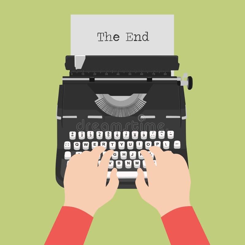 Vista superior de la máquina de escribir del vintage con la hoja del papel en blanco con mecanografiar masculino de las manos stock de ilustración
