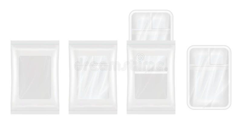 Vista superior de la maqueta blanca del poliestireno y del envase de plástico stock de ilustración