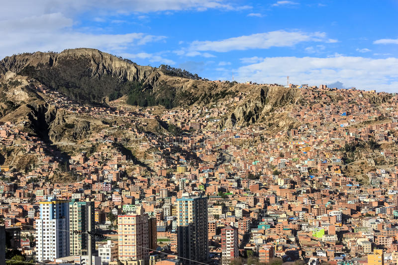 Vista superior de La Paz, Bolívia foto de stock royalty free