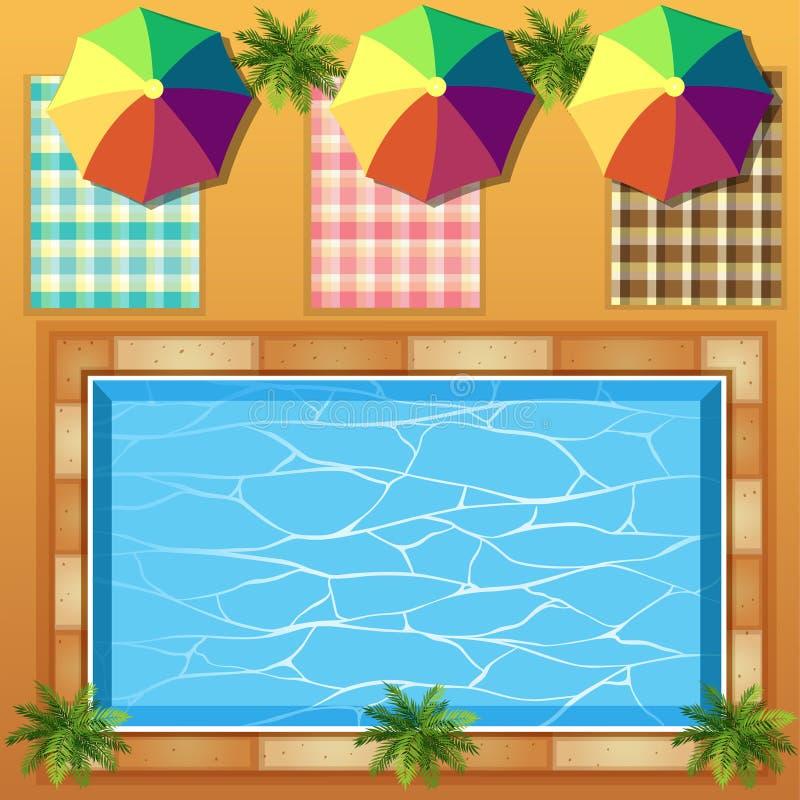 Vista superior de la piscina stock de ilustración