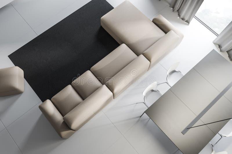 Vista superior de la sala de estar con el sofá y la tabla stock de ilustración