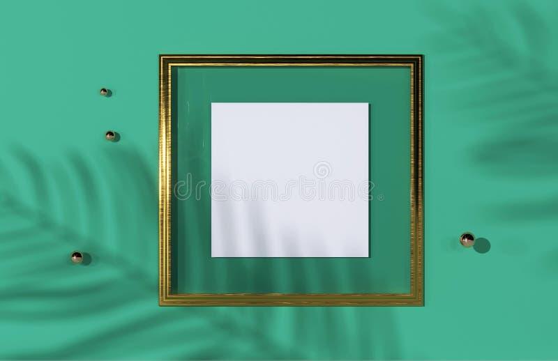 Vista superior de la sombra tropical verde de la hoja en fondo de oro del marco Endecha plana Concepto mínimo del verano con la h stock de ilustración