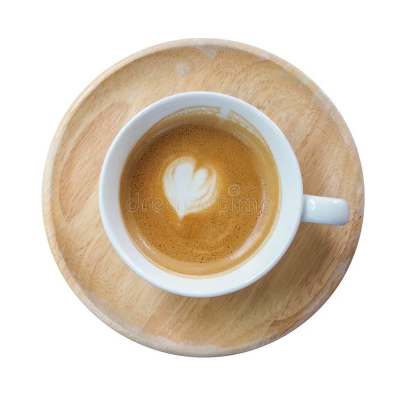 Vista superior de la taza caliente del latte del café con la mini FOA en forma de corazón de la leche fotos de archivo libres de regalías