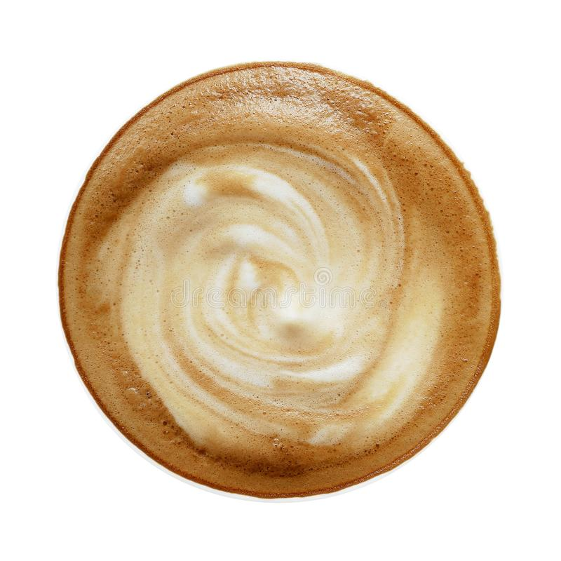 Vista superior de la taza caliente del latte del capuchino del café con la FOA espiral de la leche fotos de archivo