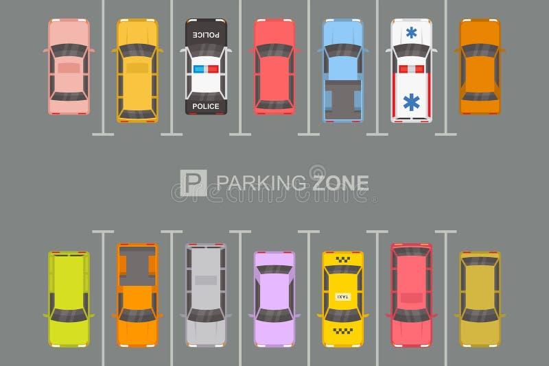 Vista superior de la zona de estacionamiento stock de ilustración