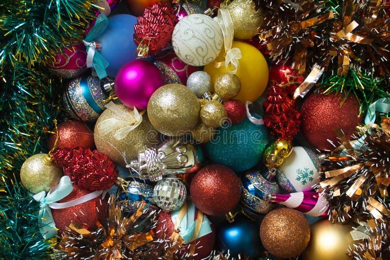 Vista superior de las bolas de la Navidad fotos de archivo libres de regalías