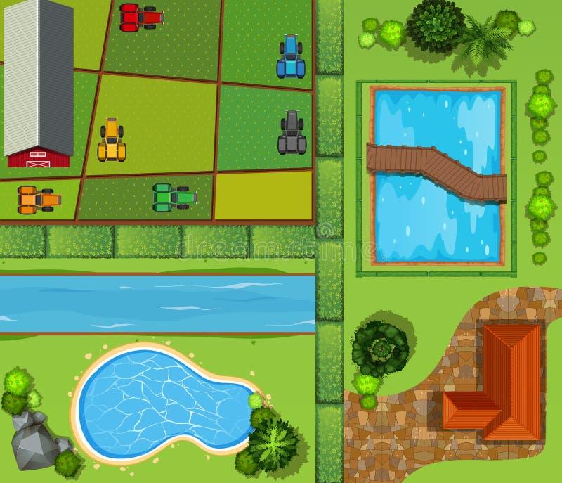 Vista superior de las tierras de labrantío y de la casa del soldado libre illustration