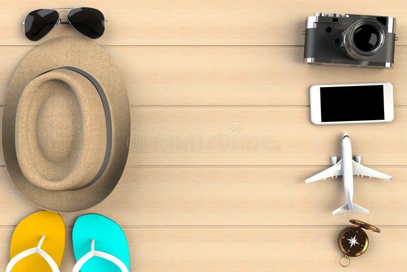 Vista superior de los accesorios en el fondo de madera de la tabla del arce, artículos esenciales de las vacaciones, concepto del ilustración del vector