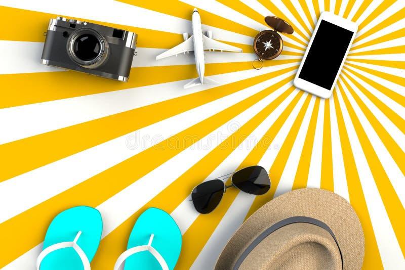 Vista superior de los accesorios en fondo amarillo rayado, artículos esenciales de las vacaciones, concepto del viajero del viaje ilustración del vector
