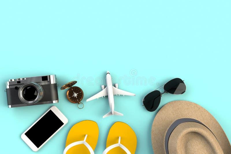 Vista superior de los accesorios en fondo azul de la tabla, artículos esenciales de las vacaciones, concepto del viajero del viaj libre illustration