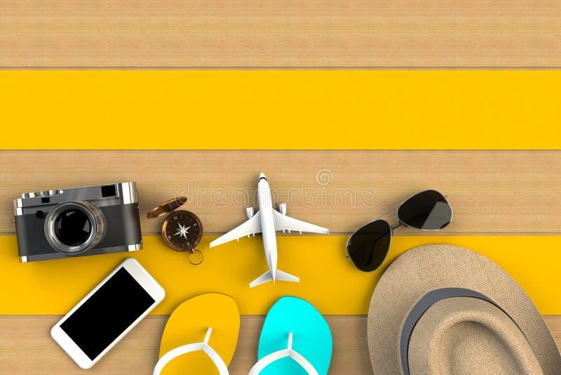 Vista superior de los accesorios en fondo de madera amarillo de la tabla, artículos esenciales de las vacaciones, concepto del vi stock de ilustración