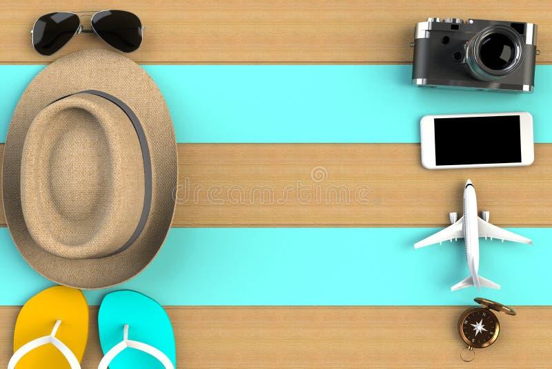 Vista superior de los accesorios en fondo de madera azul de la tabla, artículos esenciales de las vacaciones, concepto del viajer libre illustration