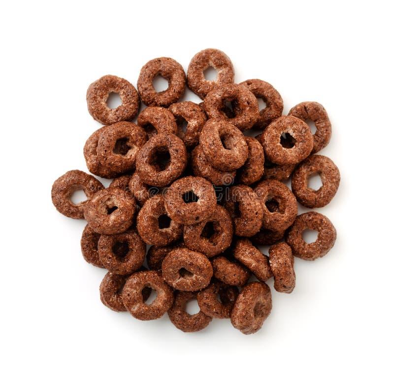 Vista superior de los anillos del cereal del chocolate foto de archivo libre de regalías