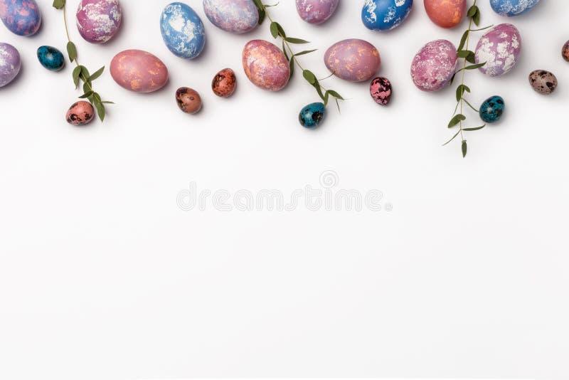 Vista superior de los huevos de Pascua coloreados con azul, rosa y la pintura púrpura en diversos modelos con las plantas Fondo b imagen de archivo libre de regalías