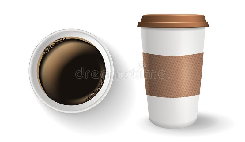 Vista superior de realístico, para ir e do copo de café de papel afastado com a luva da tampa e da ondinha ilustração royalty free