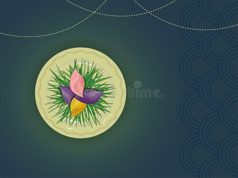 A vista superior de Songpyeon decorou com grama verde no abstra brilhante ilustração do vetor