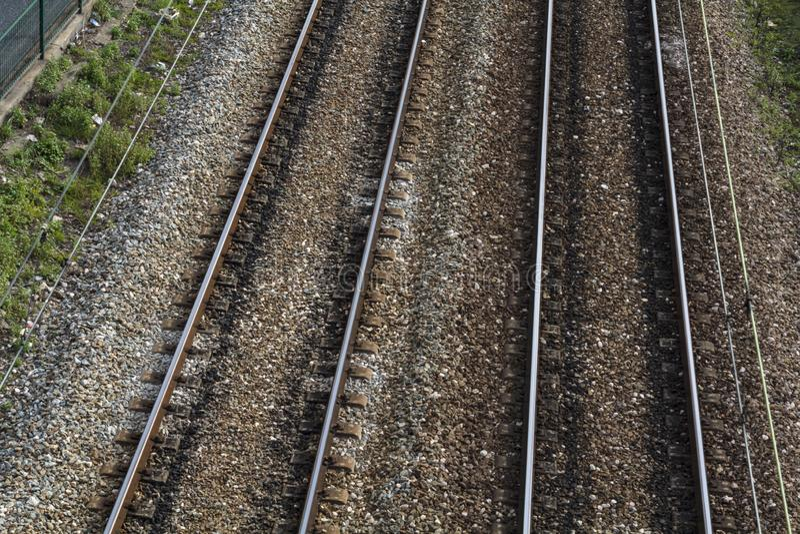 Vista superior de trilhas de estrada de ferro imagens de stock royalty free