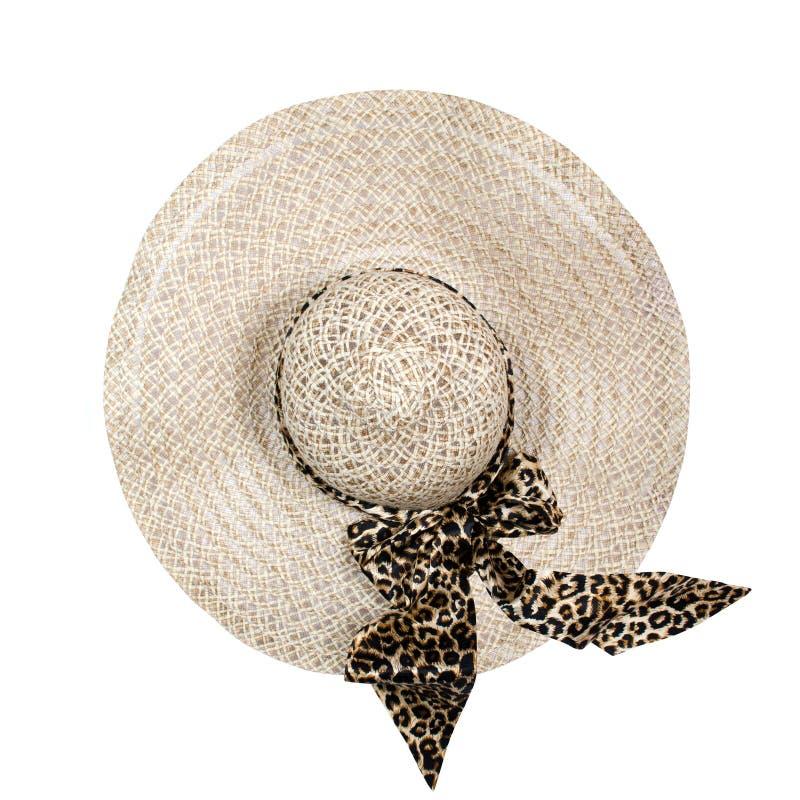Vista superior de um chapéu de palha redondo em um fundo branco. imagem de stock royalty free