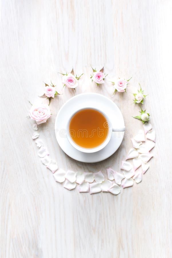 Vista superior de um copo do chá fotografia de stock