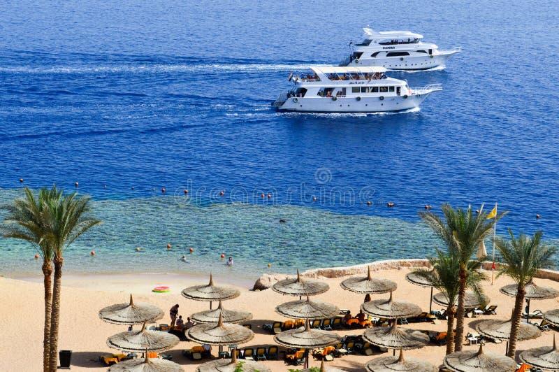 Vista superior de um Sandy Beach com sunbeds e guarda-sóis e de dois grandes navios brancos, um barco, um forro do cruzeiro que f fotos de stock