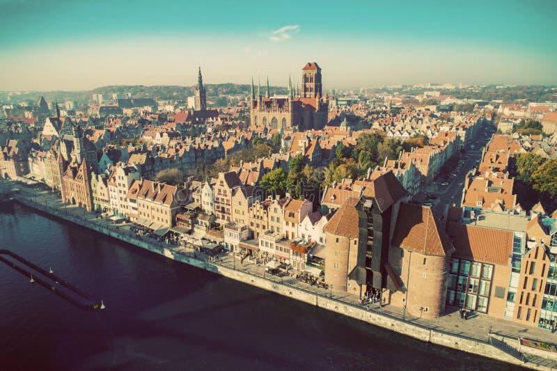 Vista superior de uma cidade velha em Gdansk, Polônia imagens de stock royalty free