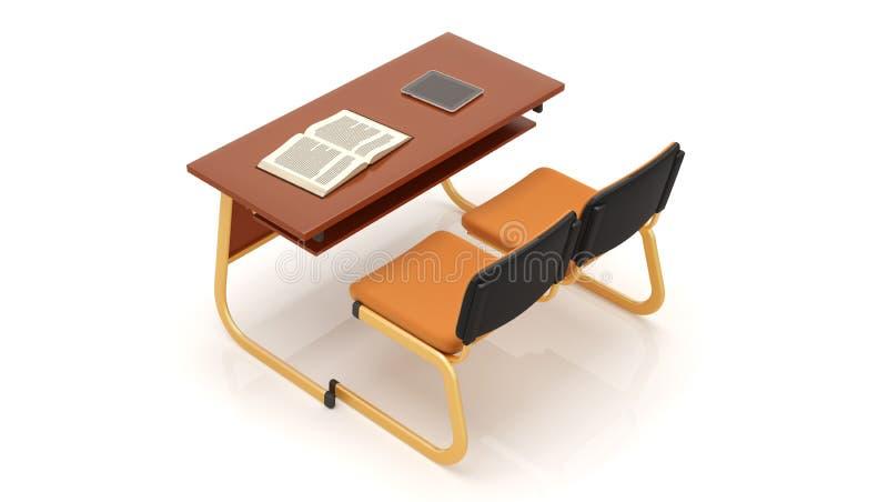 Vista superior de uma mesa e das cadeiras da escola isoladas no fundo branco rendi??o 3d ilustração stock