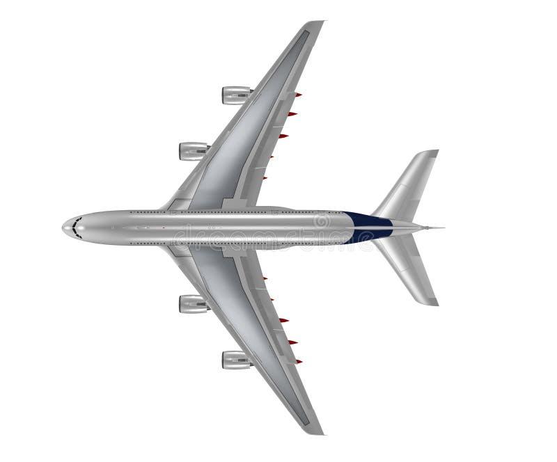 Vista superior de un aeroplano aislado stock de ilustración