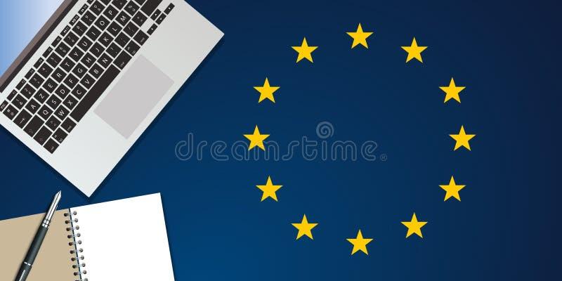 Vista superior de un escritorio, simbolizando la actividad de los medios para las elecciones europeas ilustración del vector