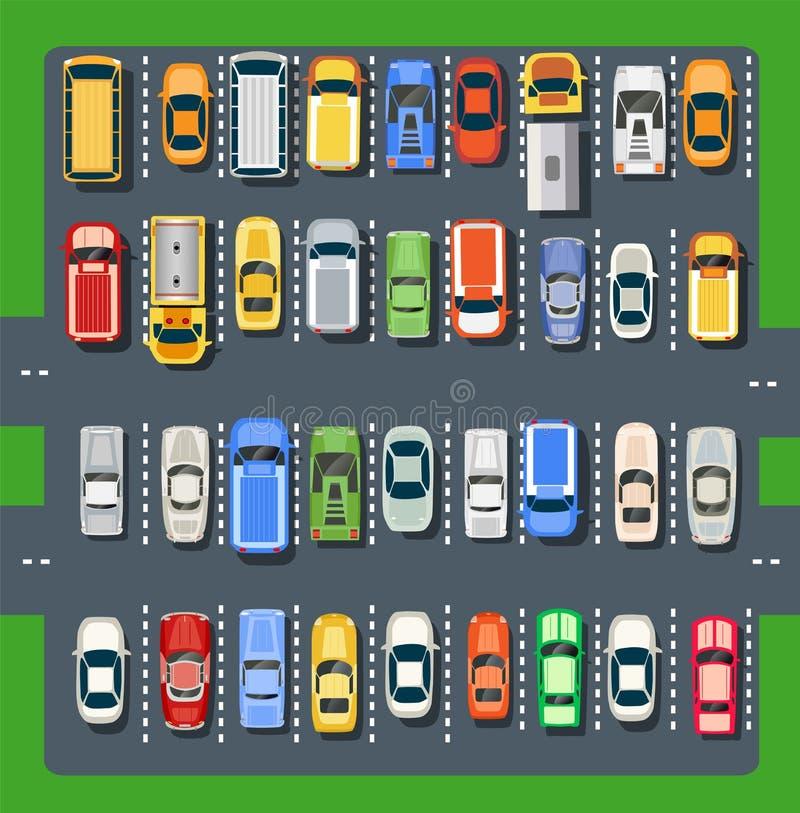 Vista superior de un estacionamiento de la ciudad ilustración del vector