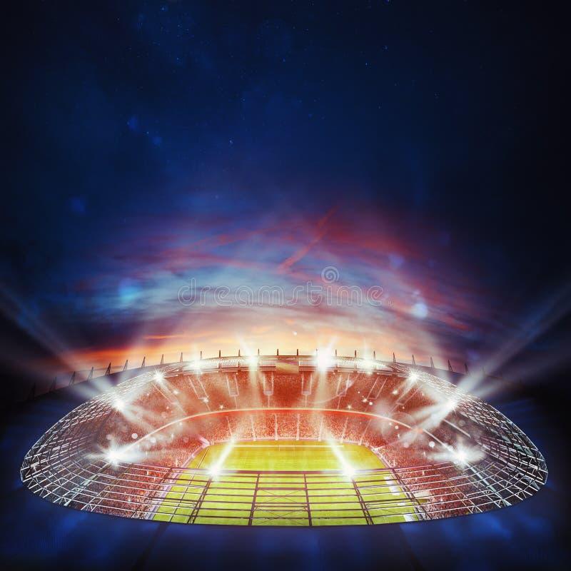 Vista superior de un estadio de fútbol en la noche con las luces encendido representación 3d foto de archivo