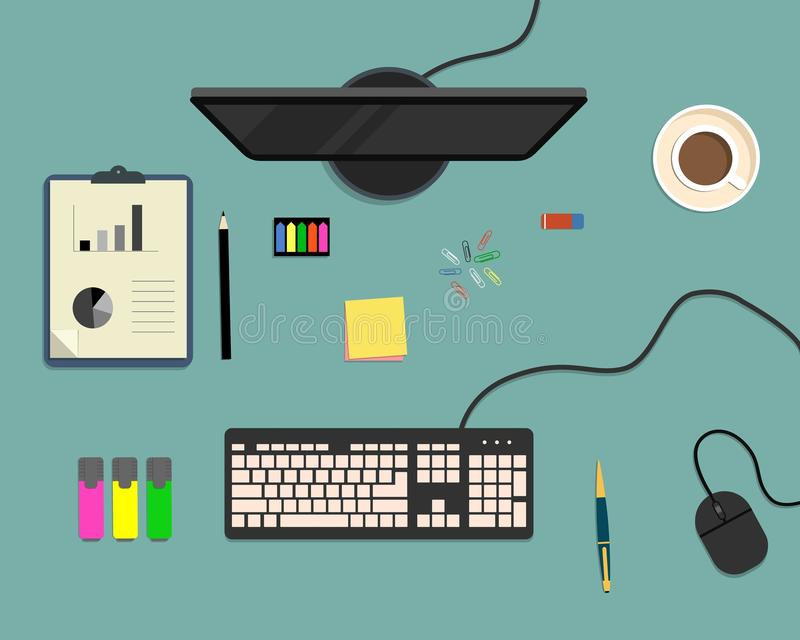 Vista superior de un fondo del escritorio, donde hay un monitor, un teclado, un ratón del ordenador, elementos de la oficina, efe libre illustration