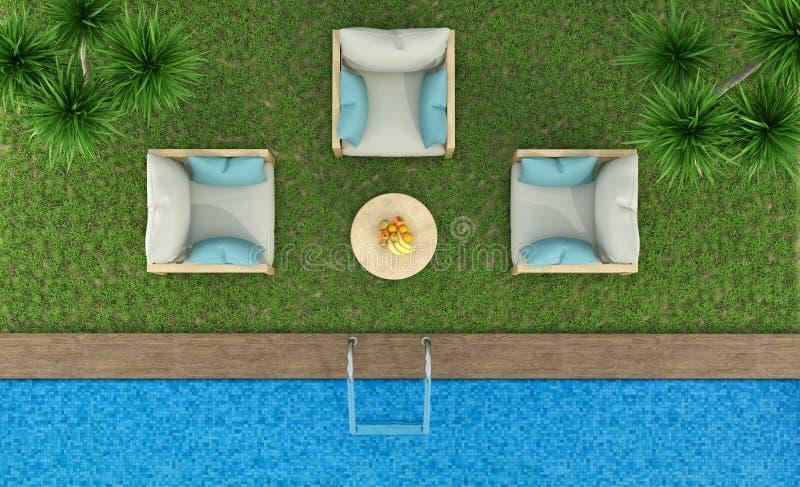 Vista superior de un jardín con la piscina ilustración del vector