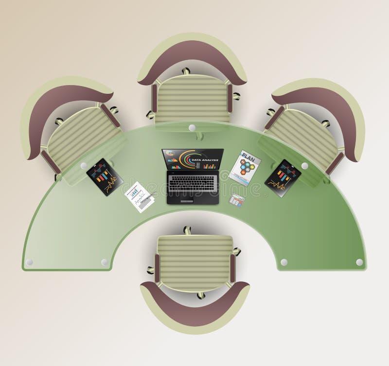 Vista superior de una sala de conferencias A medias alrededor de la tabla de cristal, cuatro sillas Ordenador portátil y tableta  stock de ilustración