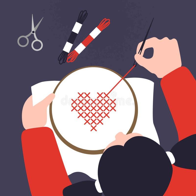 Vista superior de una tabla con las manos de costura cruzadas Ejemplo del vector del taller de costura Plantilla creativa del lab libre illustration