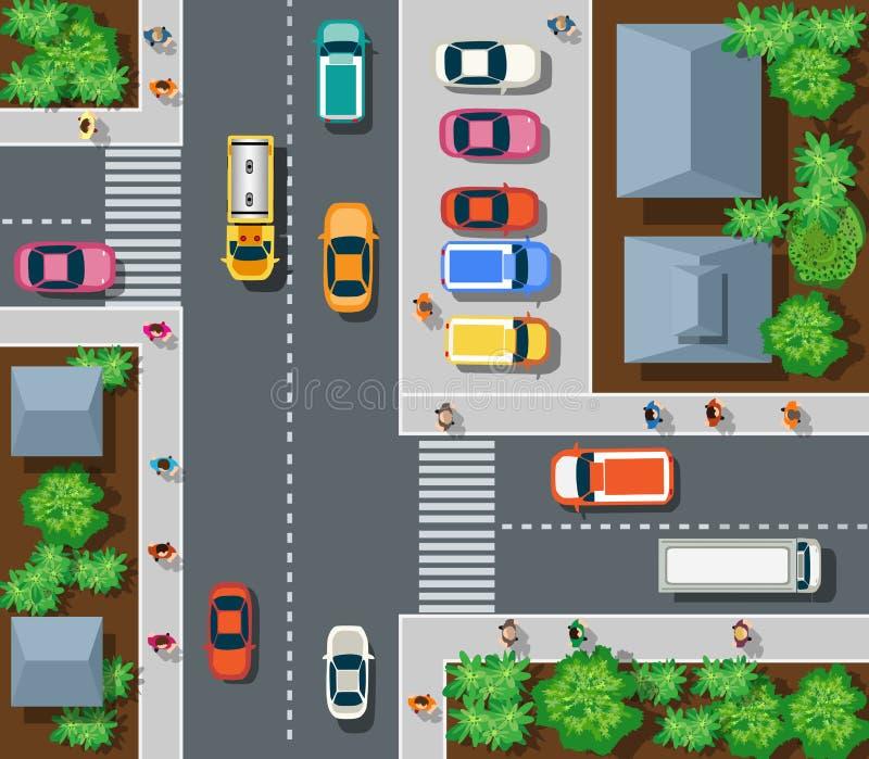 Vista superior de urbano ilustração do vetor