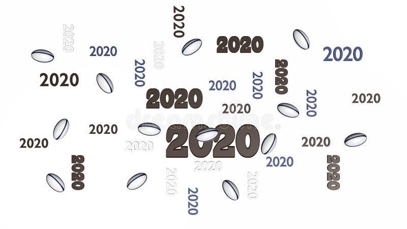 Vista superior de varios diseños de la bola de rugbi 2020 con algunas bolas ilustración del vector