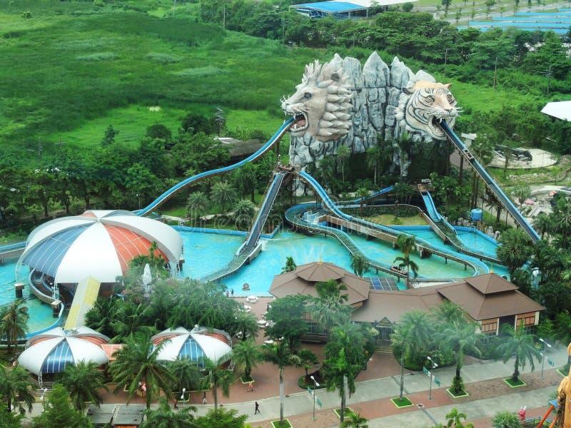 Vista superior de Waterpark imagem de stock