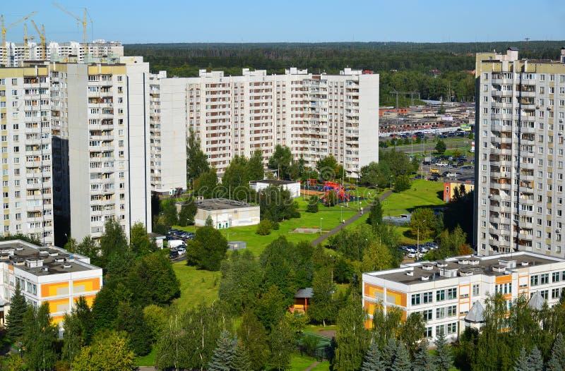 Vista superior del área Zelenograd el dormir en Moscú, Rusia foto de archivo
