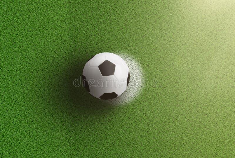 Vista superior del balón de fútbol en punto de la pena en campo de fútbol libre illustration