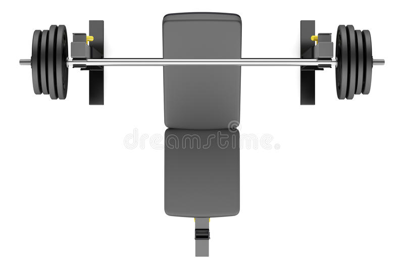 vista superior del banco de peso ajustable del gimnasio con el barbell stock de ilustración